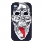 3D Skeleton Protective Plastic Back Case for Iphone 4 / 4S - Silver+ Black+ Red