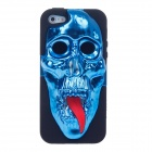 3D Skeleton Protective Silicone Back Case for iPhone 5 - Blue + Black + Red