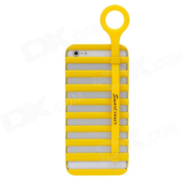 Fashion Hollowed-Out Ladder Style PC Case With Holder For iPhone 5 - Yellow