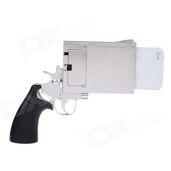 Pistol Style Protective Plastic Case for Iphone 4 / 4S - Silver + Black