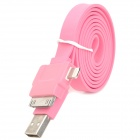 USB-zu-8-Pin Blitz / 30-Pin / Micro USB Data / Laden Flachkabel für iPhone 5 / Samsung - Pink