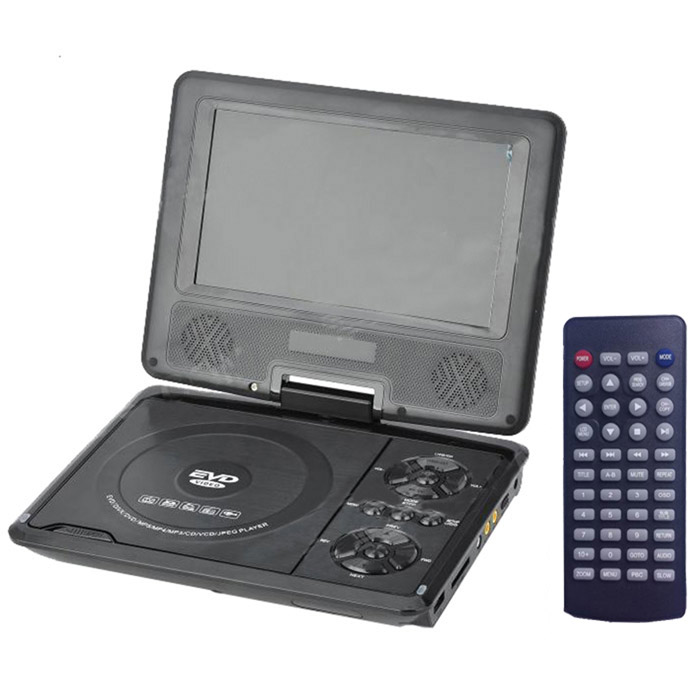 9'' Portable DVD Player w/ Game / Radio Function - Black ptv902 portable 9 lcd tv player w fm sd card usb car charger black silver 640 x 234