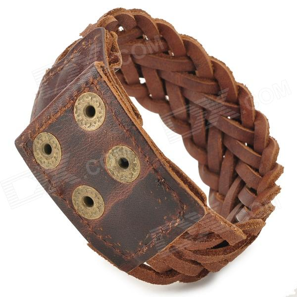 Fashion Cool Punk Style Dual Layer Braided Cowhide Grain Leather Bracelet - Brown fashion cupid ornament split leather bracelet coffee brown multi color