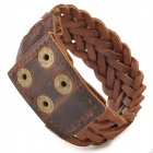 Fashion Cool Punk Style Dual Layer Braided Cowhide Grain Leather Bracelet - Brown