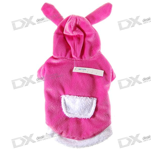 Cute Rabbit Winter Clothing with Cap for Dogs/Cats - Pink (Size-12)