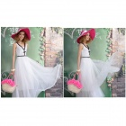 Graceful Cotton Vest Gauze Mesh Dress - White (Size L)