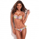 RELLECIGA 033131015-701S Flirty Jungle Pattern Removable Shoulder Band Push-Up Bikini - Multicolored