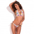 RELLECIGA 033131016-701S Jungle Pattern Sexy Triangle Cup Tying Band Bikini Swimsuit - Multicolored
