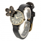 Fashion 3D Flower Design Lady's Quartz Wrist Watch - Black + Antique Brass (1 x 337)