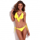 RELLECIGA 033131009-300M Removable Pad Tying Band Triangle Cup Bikini Swimsuit - Yellow