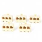 RJ-11 1-Male to 3-Female Telephone Network Connector Splitter Extender Plug Adapter - Beige (5 PCS)