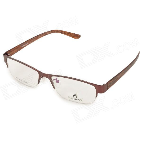 купить MINGDUN 8280 Fashion Nickel Alloy Myopia Half-Frame PC Lens Eyeglasses - Coffee недорого