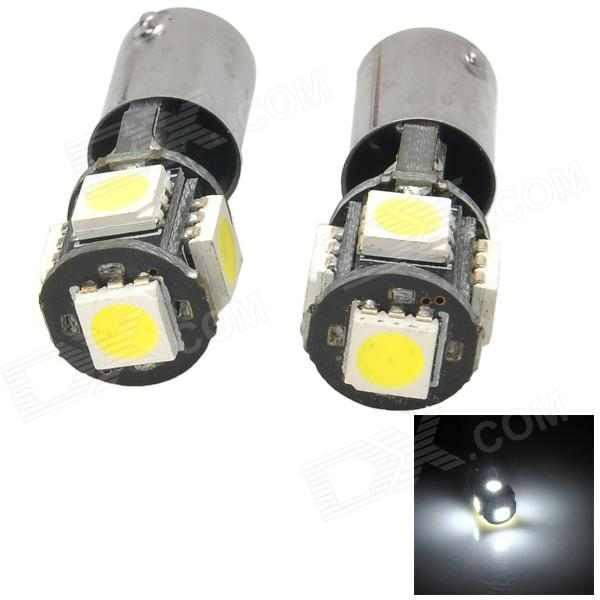 HongYun BA9S 1W 75lm 6000K 5050 SMD 5 LED White Light Car Steering Lamp - Schwarz + Gelb (2 Stück)