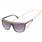Fashion UV400 Protection Sunglasses w/ Chain - Black + Golden