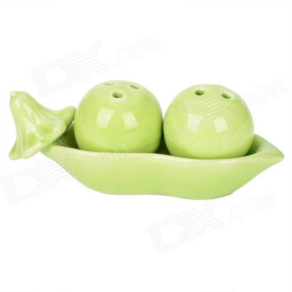 Creative Garden Peas Style Ceramic Spice Bottle w/ Holder Tray Set - Green (2 PCS)