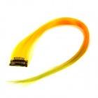 Stylish Straight Colorful Clip On In Hair Extension Wig - Yellow + Orange + Green