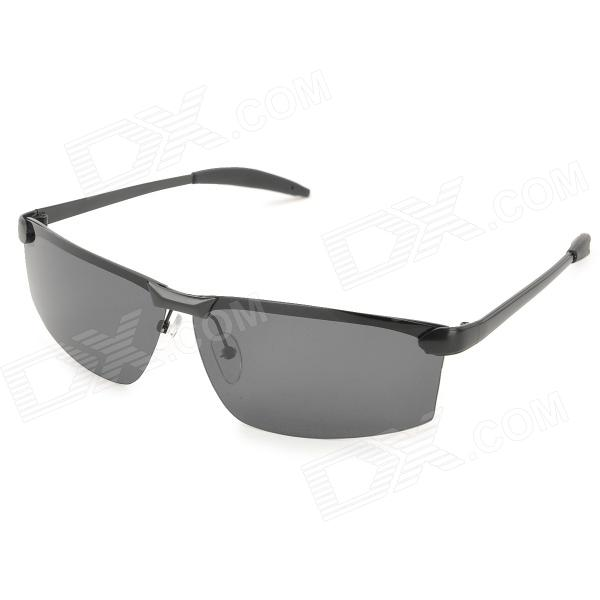 Ultra-Lightweight High Nickel Cupronickel Frame Men's Polarized Sunglasses - Black carshiro 9150 uv400 protection resin lens polarized night vision driving glasses