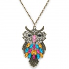 Colorful Rhinestone Owl Pendant Zinc Alloy Necklace - Antique Brass