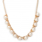Elegant Pearl w/ Rhinestone Gold Plated Necklace - Golden + Beige