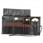 BP2211 Stylish Animal Hair Professional Makeup Brush Set w/ Storage Bag - Black + Deep Scarlet