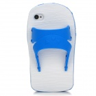 Creative Slipper Style Protective Silicone Back Case for Iphone 4 / 4S - Blue + White