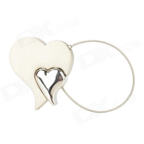 KC1091 Creative Double Heart Style Keychain - Silver