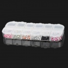 Shiny 12 Colors 1.5mm Round Rhinestone Plastic Nail Art Tips - Multicolor (1 x 3000PCS)