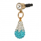 Universal 3.5mm Earphone Jack Antidust Plug w/ Sparkling Shiny Crystal Pendant - Blue + Silver