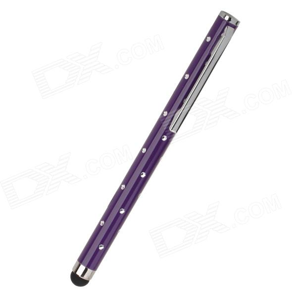 Rhinestone Ballpoint Pen Style Capacitive Screen Stylus Pen w/ Clip for Iphone / Ipad - Purple