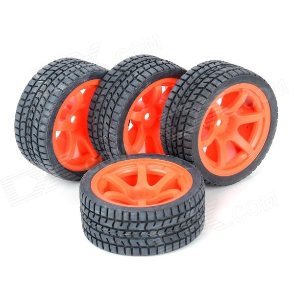 SIXXY BIKE CMWT0001O Rubber Tyre for Electronic Model Car - Orange + Black (4 PCS)