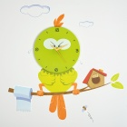 DIY 3D Cartoon Bird Wall Sticker Clock - Yellow Green + White + Black (1 x AA)