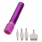 Cylinder-Shaped External 2600mAh Power Battery Charger w/ USB Flashlight for Cell Phone - Purple