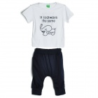 Kid's Summer Cute Cartoon Elephant Pattern Cotton T-shirt + Pants Suit - White + Deep Blue (2 PCS)