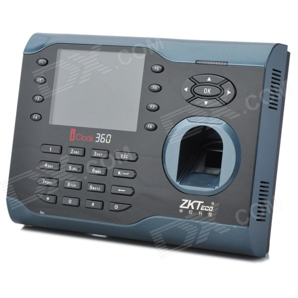 ZKsoftware iClock360 3.5 LCD Fingerprint Recognition Time Attendance Machine (8000-User Capacity)Doorbells<br>Model:Form  ColorBlackQuantity:Power AdaptorYesBattery included or notYesPower AdapterUSBTransmission MethodFingerprint,ID cardIR Night VisionYesCertification:Packing List1<br>