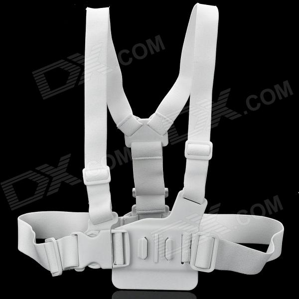 Adjustable Chest Strap Mount Belt for Gopro Hero 4/ 1 / 2 / 3 / 3+ / SJ4000 - White gopro accessories head belt strap mount adjustable elastic for gopro hero 4 3 2 1 sjcam xiaomi yi camera vp202 free shipping