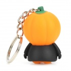Pumpkin Style Light & Sound Keychain - Orange + Black (3 x LR41)