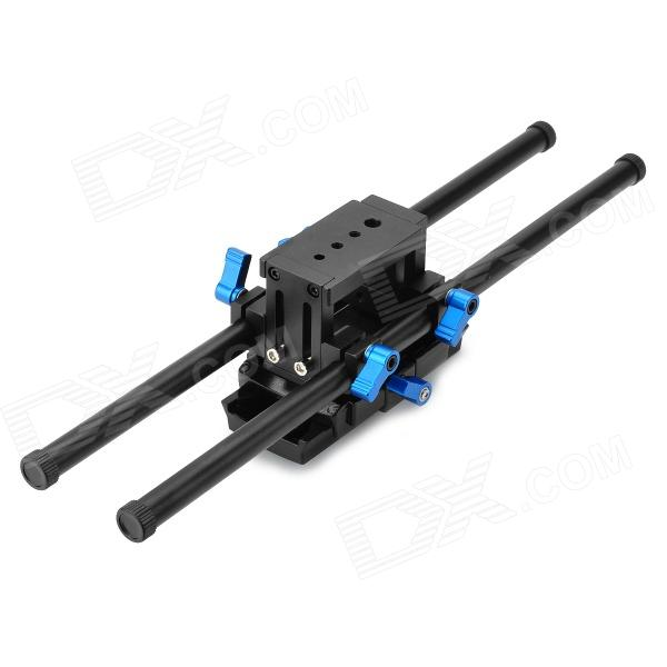 15mm Rail Rod Support + Quick Release Plate Base for Camera Matte Box / Follow Focus - Black + Blue kampfer ksw professional support for rod