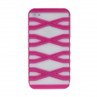 Stylish Hollowed-Out X Ladder Style PC Case For Iphone 4 / 4S - Deep Pink