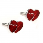 Double Heart-Shaped Steel Paint Men's Cufflinks - Silver + Red (Pair)