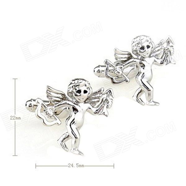 Lovely Angel Style Steel Paint Men's Cufflinks - Silver (Pair)