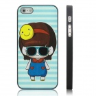 ENKAY Dark Glasses Girl Pattern Protective Plastic Case for Iphone 5 - Black + Multicolor