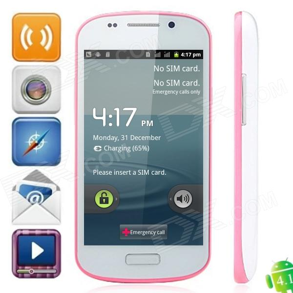 S9 Android 4.1.1 GSM Bar Phone w/ 4.0″ Capacitive Screen, Quad-Band and Wi-Fi – White + Pink