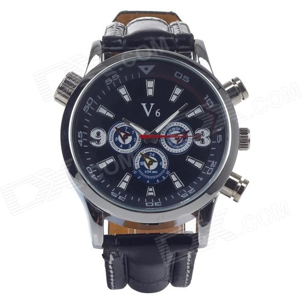 Super Speed V0088 Fashion Men's Analog Quartz Watch - Black + Silver + White + Blue (1 x LR626) v6 super speed v007 fashion pu leather band quartz men s wrist watch black silver 1 x lr626