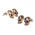 Cool Skull Head Style Copper Alloy Earrings - Golden + Black + Silver ( 2 Pairs)