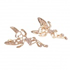 Fashion Delicate Copper Alloy Rhinestone Earrings - Golden (Pair)