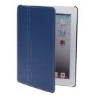 Protective PU Leather Case w/ Stand for Ipad 2 / 3 / 4 - Blue + Black + Grey
