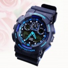 SANDA Multifunction Double Movements Sports Diving Watch for Men - Black + Blue (1 x CR2016)