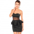 LC2675 Sexy Black Strapless Peplum Dress for Woman - Black (SizeL)