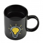 Shining Light Bulb Color Change Thermochromic Cup Mug - Black (220ml)