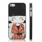 ENKAY Orange Coat Girl Pattern Protective Plastic Case for Iphone 5 - Black + Multicolor